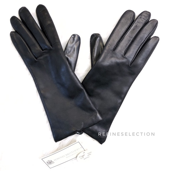 Fownes Black Leather Gloves ~ Size 7